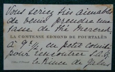 Antique Annotated Calling Card King Edward VII Mistress Mélanie de Pourtalès